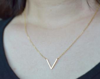 Brushed Finish Chevron necklace, V necklace, Arrow, Bridesmaid jewelry, Everyday, Geometric, Wedding necklace