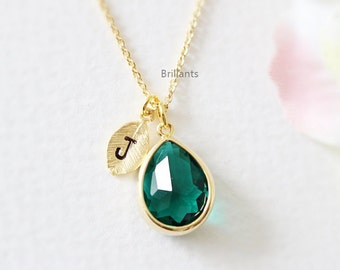 Personalized Green Stone necklace in gold a0766caef8