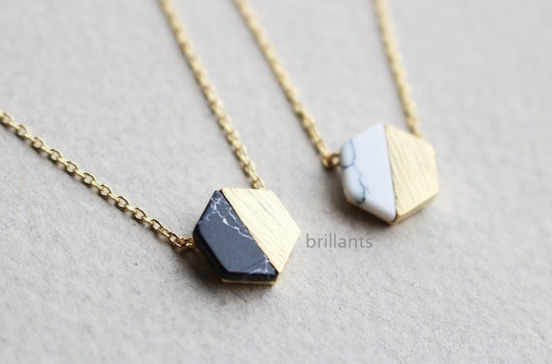 Free Gift Wrapping Hexagon necklace White stone Black image 0