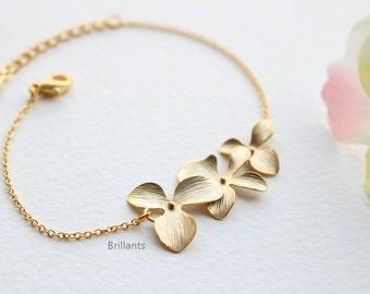 Orchid Flower Bracelet, Rose gold bracelet, Bridesmaid jewelry, Wedding bracelet, Bridesmaid set, Bridesmaid gift, Personalized bracelet
