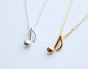 Music necklace, Music note, Bridesmaid jewelry, Everyday jewelry, Wedding necklace