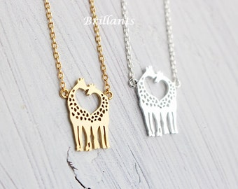 Heart Giraffe pendant necklace in gold, Love, valentines day, Bridesmaid jewelry, Bridesmaid gift, Wedding necklace, Personalized necklace