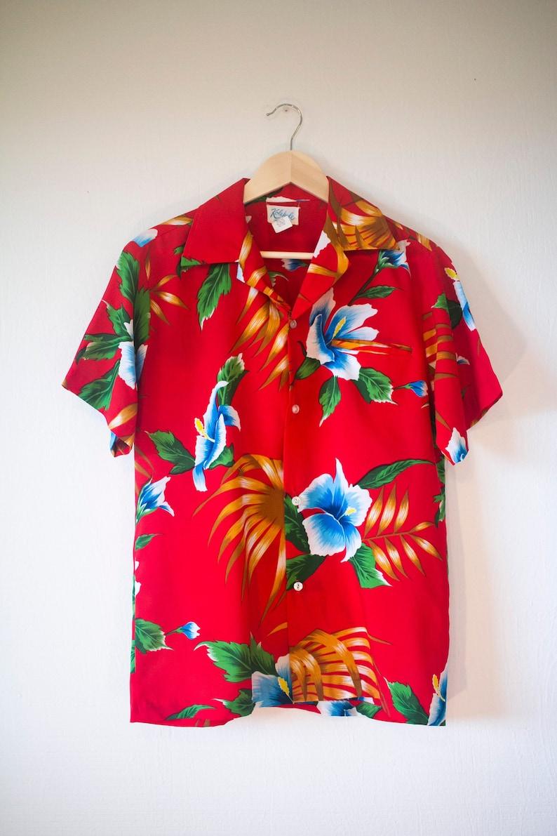 4ccdab89 1970s Hawaiian Shirt Large Made in Hawaii Tom Selleck Aloha   Etsy