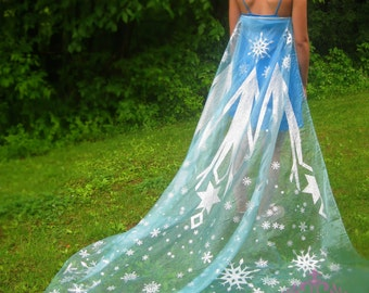 you sew edges DO IT YOURSELF Elsa Frozen cape 90 x 70 organza panel fabric light blue with silver glitter snowflakes