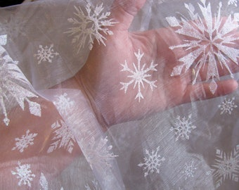 elsa cape fabric sheer sparkly LARGE WHITE SNOWFLAKE Fabric Elsa Frozen white iridescent glitter Organza Fabric by the yard make a cape