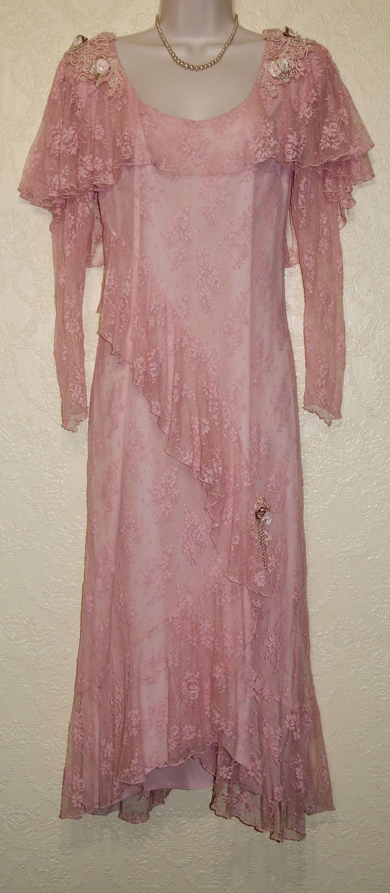 Romantic BLUSH Pink Lace Dress size 8-10 Susan Lanes Country Elegance dress