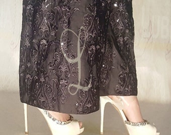 Silk Embroidered Palazzo Pants For Women