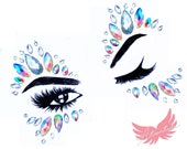 iridescent White Festival Face Jewels Rhinestone Face Gem Crystal Make Up Self Adhesive