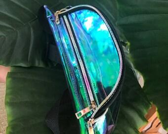 JT/_ Unicorn Mermaid Rainbow Colors Holographic Festival Rave Choker Necklace