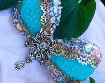 a1894c11931 Turquoise Gold Crystal Rave Festival Bra