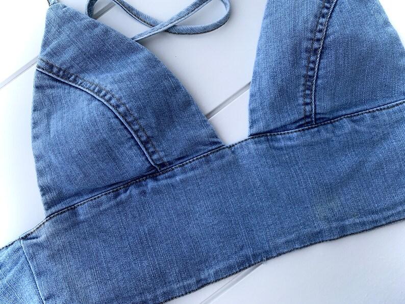 Denim Crop Top Festival bralette Adjustable Rave Bra Aesthetic Outfit