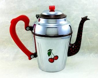 Decorative Altered Vintage Chrome Coffee Pot with Hand Painted Cherries OOAK, Bakelite Handle, Retro Kitchen Decor, Cottage Chic