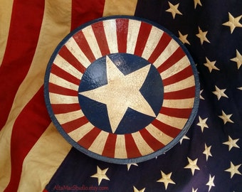 Decorative Wood Bowl OOAK, Folk Art, Primitive, Americana, Hand Painted, Red White Blue, Stars Stripes, Country Home Decor, Handmade Gift