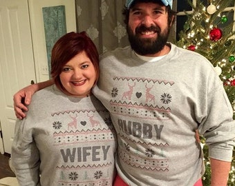 Sweatshirts Winter Wedding gift Hubby Wifey Unisex Ugly Sweaters. Valentines Day matching couples - Engagement announcement gift