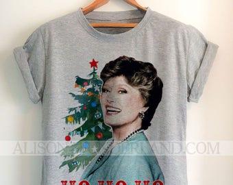 golden girls christmas t shirt ho ho ho blanche holiday tee christmas party shirt womens mens teetank grey or white