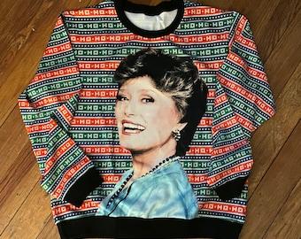 Blanche - Ho Ho Ho, golden girls, oversized slouchy ugly christmas sweater, satin bomber style, christmas sweatshirt, holiday work,