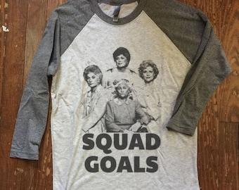 best friends,  girls shirt, funny graphic tee Golden Girls Squad Goals  - Baseball ringer tee -  raglan sleeves, matching bffs, golden girls