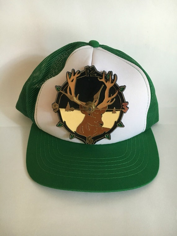 Vintage Novelty Deer Clock Trucker Hat