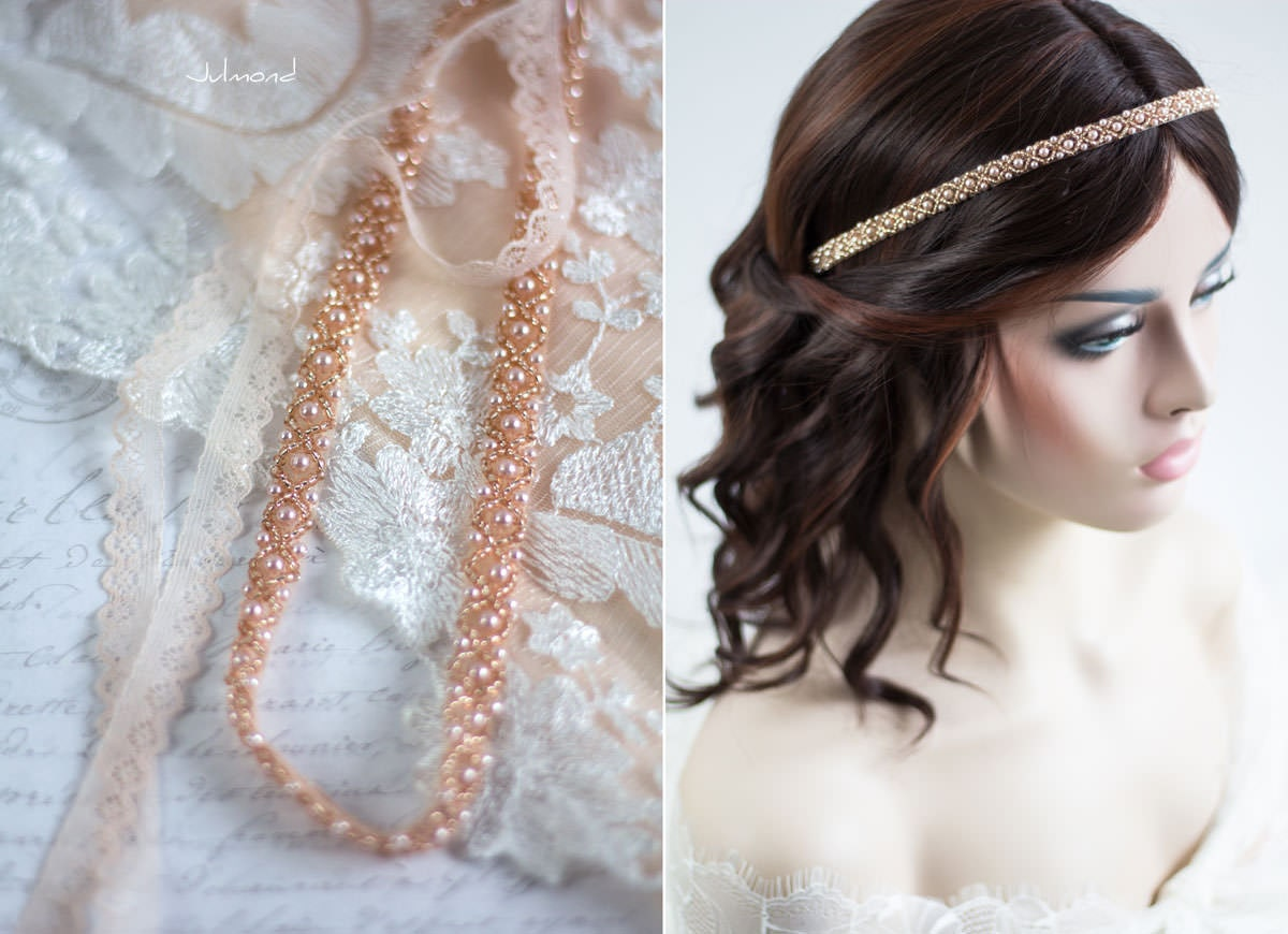 Braut Haarband Rosegold Hochzeit Perlen Kopfschmuck   Etsy