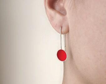 Sterling silver red earrings, dangle earrings, minimal earrings, simple earrings,cup earrings