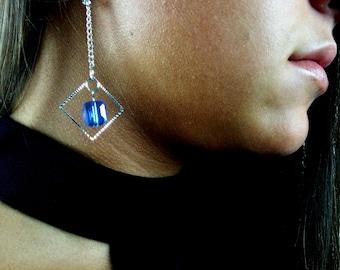 Modern vivid blue drop earrings - Hypoallergenic