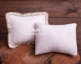 ivory tiebacks set lace finish newborn pillow newborn photo prop Small ivory vintage pillow and tiebacks set UK seller nb prop