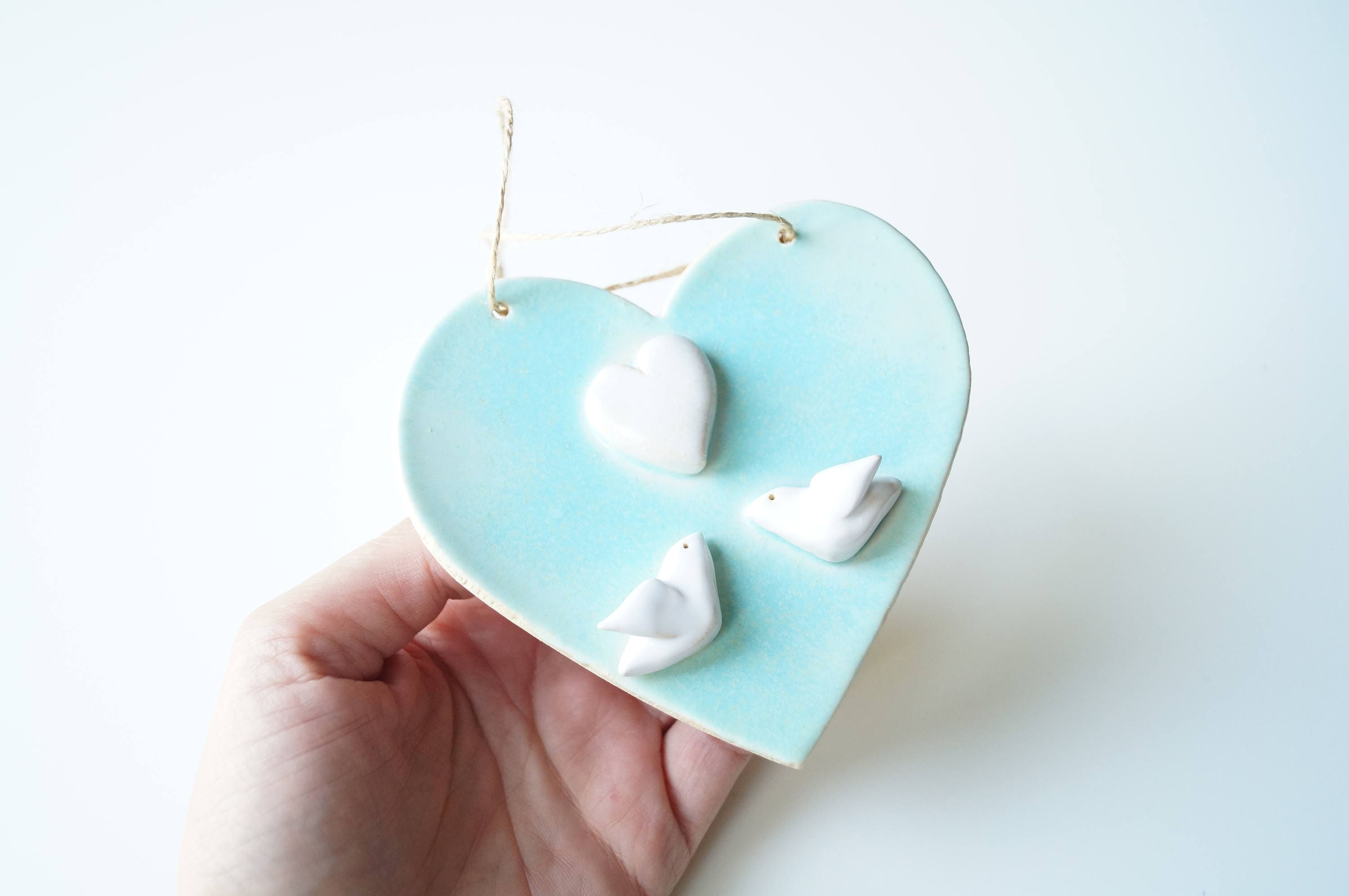 Wedding Gift Ornaments: Wedding Gift Ornament Hanging Ornament Handmade Ceramic