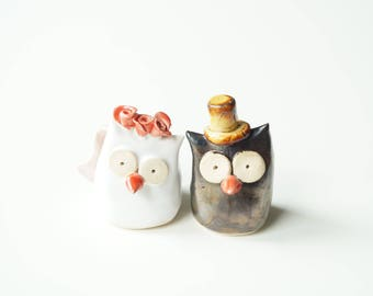 ceramic owl wedding cake toppers etsy your place to buy and sell all things handmade 12489