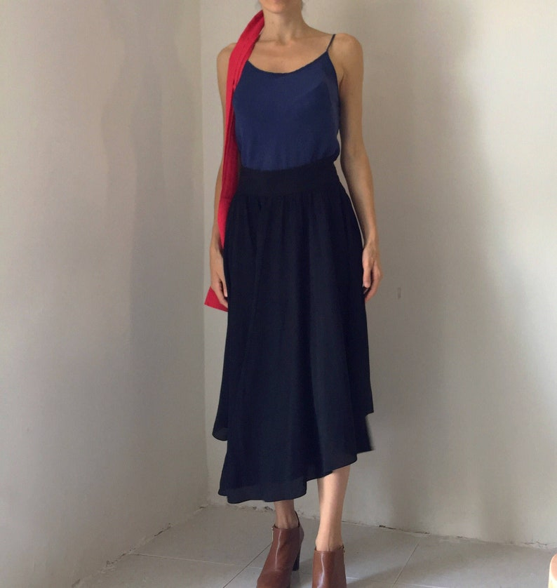 20614bf4ecb Uterqüe Black silk maxi skirt asymmetric high waist Small