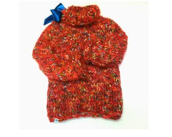New hand knitted red mohair/cotton soft warm thick winter sweater for 4-5 y girl