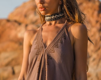 Loose-fitting women's dress - Boho summer dress - Thick hemp style cotton dress - Loose back women's dress - primitive dress