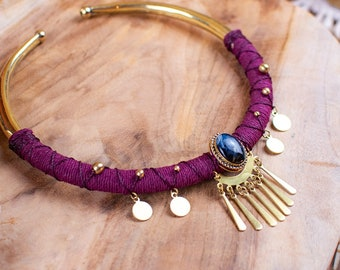 Brass necklace and pietersite stone - tribal necklace - boho necklace - wedding necklace