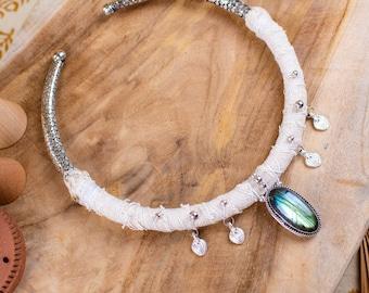 White brass and labradorite necklace - summer tribal necklace - boho necklace - wedding necklace and ceremony