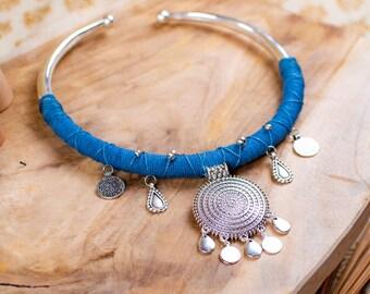 Boho silver necklace - tribal necklace - boho necklace - wedding necklace - hemp necklace