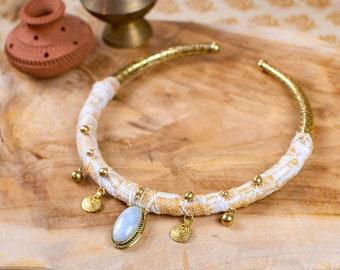 Brass and moonstone necklace - tribal necklace - boho necklace - wedding necklace