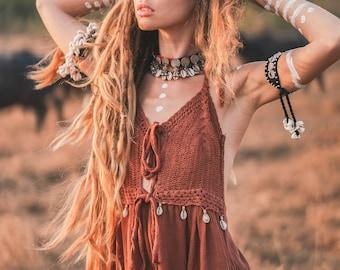 Boho cotton and crochet dress - long woman's dress shells cowries boho - Natural woman loose dress - dress for primitive woman