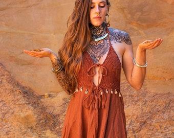 Long boho cotton and crochet dress - women's dress shells cowries boho - Natural woman loose dress - dress for primitive woman