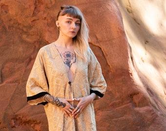 Kimono short sleeve woman - Jacket in fillet - summer boho ibiza - hippie-chic clothing - primitive jacket