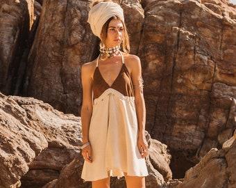 Boho woman's dress piece / shell - Boho dress - Thick cotton dress hemp style - loose woman dress - primitive dress
