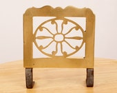 Trivet kettle stand tea pot stand iron stand plant pot stand Vintage Solid Brass Fireplace side stand side kettle holder