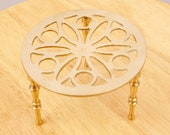 Kettle stand tea pot stand plant pot stand trivet Vintage solid brass Small table House decor