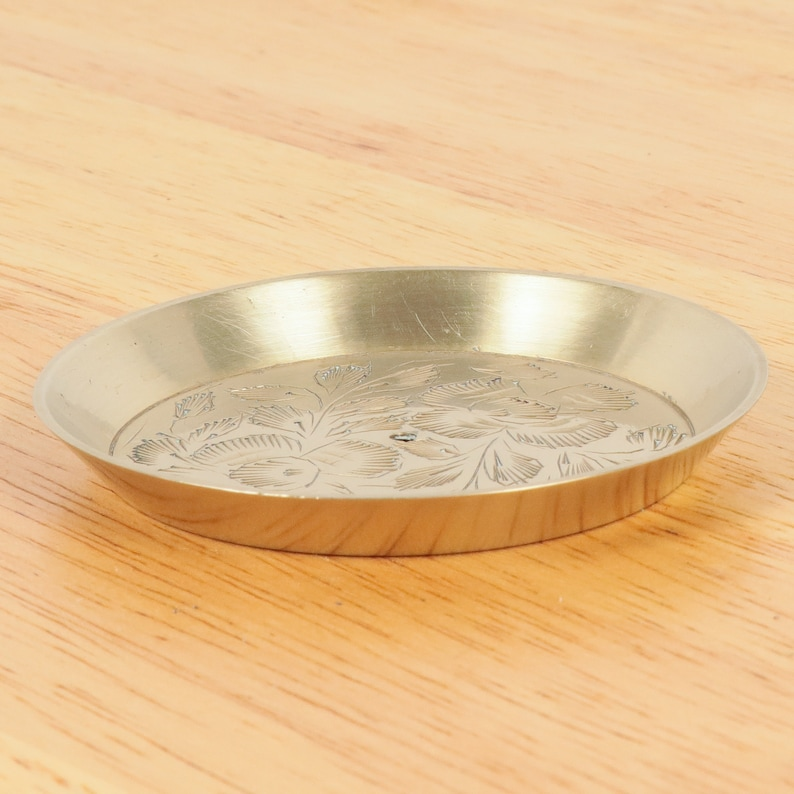 7.5 cm plate  tray Marked  Vintage solid brass INDIA  Made in India Handmade engraved floral design