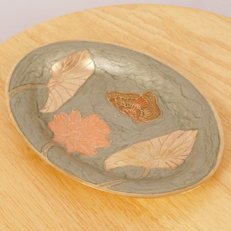 flowers and butterfly Vintage solid brass Flower design Plate  dish  tray Enamel
