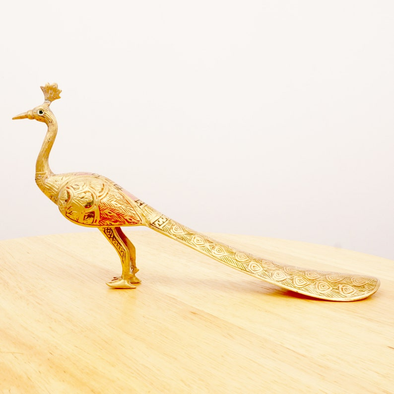 Peacock figurine  Peacock shoehorn Bird design Vintage Solid Brass Handmade engraved pattern with enamel filling