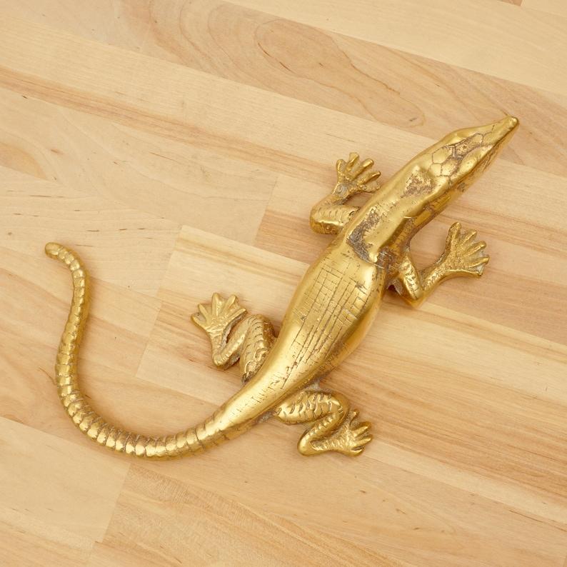 vintage figure reptile statue Lizard vintage sculpture Vintage Solid brass