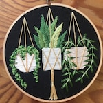 Hanging pots on black , succulent and pot plant embroidery , embroidery , wall art