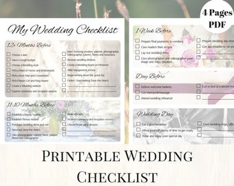 wedding checklist printable instant download etsy