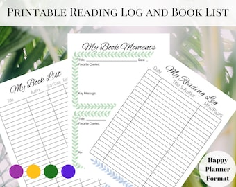 Printable Reading Log, Reading Journal, Reading Tracker, Book Tracker, Books to Read, Printable Reading Journal, Happy Planner Reading Log