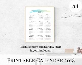 Calendar 2018 Printable, Yearly Calendar, Printable Calendar, 2018 Monthly Calendar, A4 Printable Calendar, Wall Calendar 2018