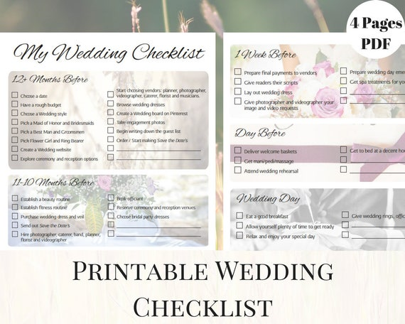 wedding checklist printable wedding checklist printable etsy